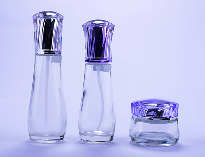 Glass Bottles with Purple Lids